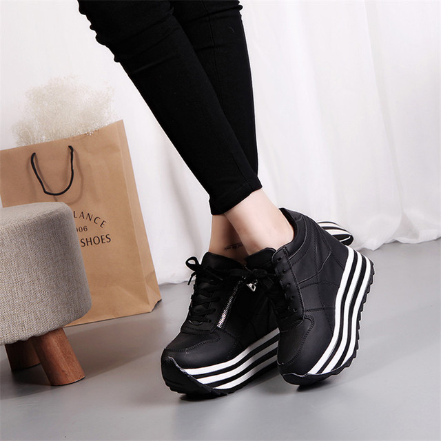 Shoes Woman Spring Extreme High Heels New Waterproof Platform Leather Surface Muffin Female Casual Students Vulcanized Shoes