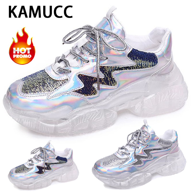 Women Transparent Sneakers Ladies Shoes Platform Sneakers Casual Shoes Shining Footwear