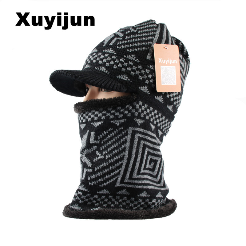 XUYIJUN New Balaclava Winter Men Skullies Woolen Point Cap skullies beanies Ninja Mask Pocket Thermal Plush Hat Snow Cap skullies