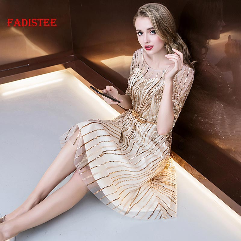 FADISTEE New Arrive Spring Summer Cocktail Party Little Style Sequins Gold Tassel Half Sleeves Mini Prom Dress Short Style