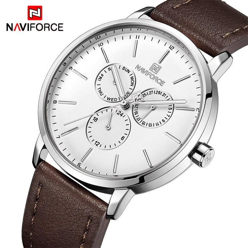 NAVIFORCE Men Fashion Sports Watches Men's Leather Waterproof Wrist watch Male Quartz Date Week Business Clock Relogio Masculino