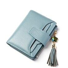Marke 2017 Kuh Echtes Leder Frauenmappen Quaste Diamant Lettice Damen Short Brieftasche Weibliche Geld Clip Dreifache Mini Geldbörse