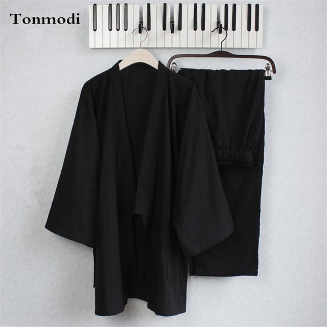 Pijamas de Algodão Homens Kimono Pijama Dupla de Gaze Preto dos homens Sleepwear Salão Sono Pijama Define Pijama Dos Homens Kimono