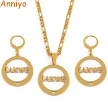 Anniyo CAN NOT CUSTOMIZE THE NAME / Name IAKWE Pendant Necklaces and Earrings for Women Gold Color Jewelry Gifts #033321(China)