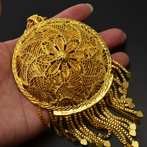 Image 2 - Anniyo Thick Chain and Big Pendant for Women Men Ethiopian African Gold Color Jewelry Nigeria Gifts #064506