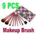 Free Shipping Drop Shipping Newest Makeup Brush 9 PCS Set Cosmetic Make up Brush Set Tool Kit Wiht Leather Case