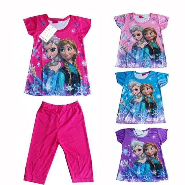 eaa5a419dd44 Yilaku Children Cartoon Pajamas Sets Girls Short Sleeves Princess print cute  pajamas Baby Sleepwear Pijama Infantil