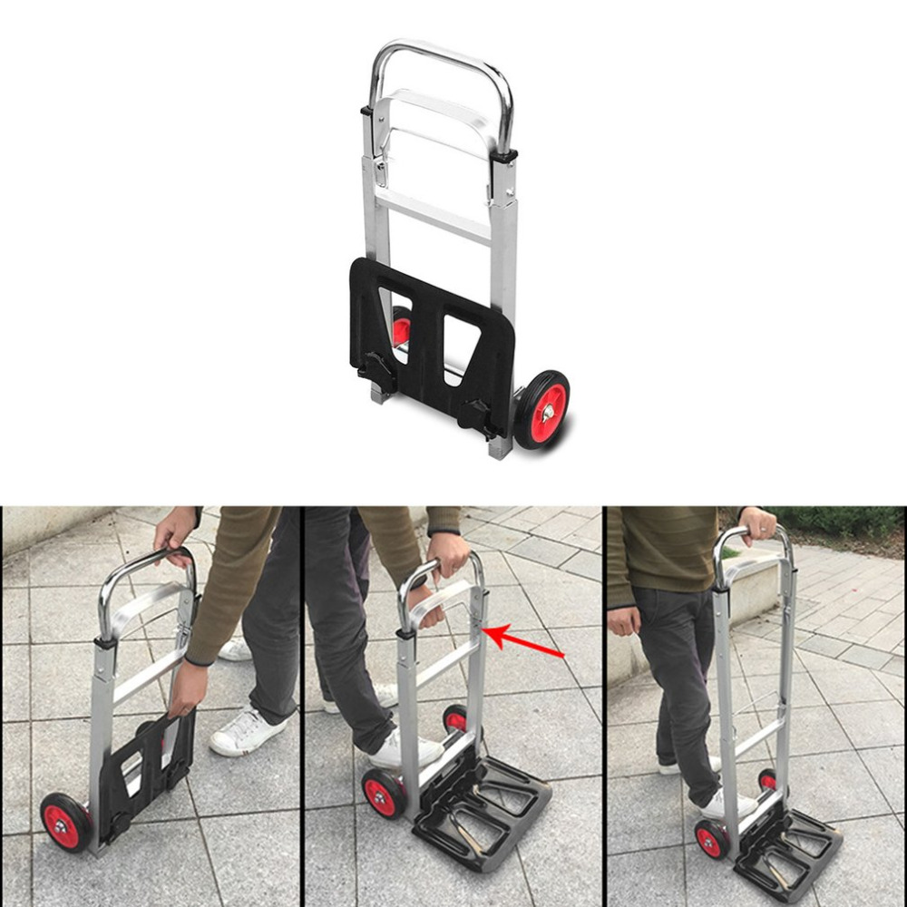 New Two Wheel Folding Portable Shopping Cart Aluminum Alloy Trolley Car Luggage Trailer Tightly Loaded Foldable Trailer