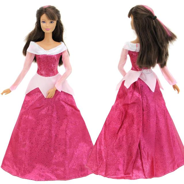 9fe63c2f029956 High Quality Fairy Tale Outfit Copy Aurora Sleeping Beauty Princess Dress  Gown Pink Skirt Clothes For Barbie Doll Accessories