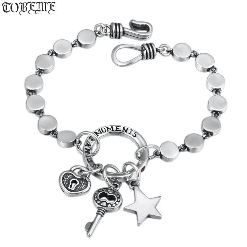 100 925 Silver Chain Bracelet Stering Bohemia Bracelet Lock Key Bracelet Love Lady Bracelet