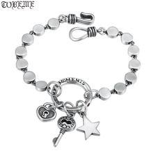 100% 925 серебряный браслет с цепочкой в богемном стиле замком