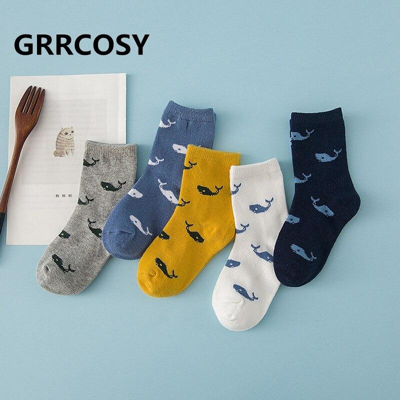Mutter & Kinder Grrcosy 5 Paare/los Baby Socken Baumwolle Kinder Mädchen Jungen Kinder Socken Kleine Wal Cartoon Herbst Neue Kind Socken Kinder Junge Mädchen Socken
