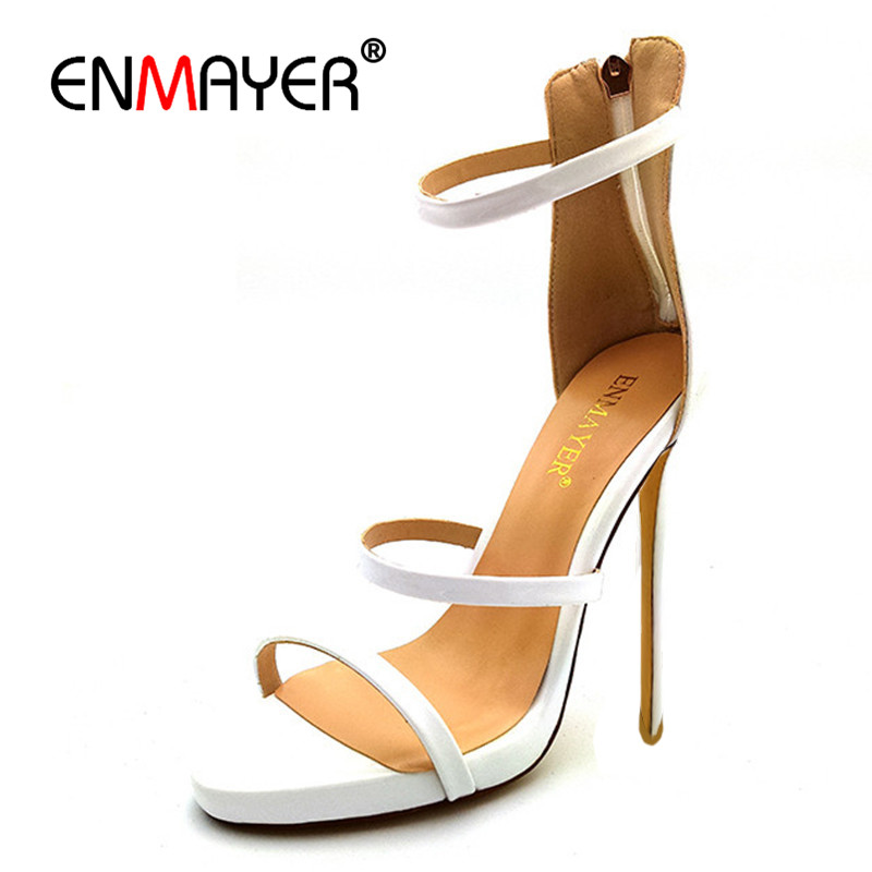 ENMAYER Sexy Ankle Strap Cover Heels Extreme High Heels Elegant Sandals Women Shoes Summer Zipper Plus Size 35-46 Party Dress 18cm 7 inch high heel unisex sandals sexy ankle strap high heeled shoes summer women sandals fashion party prom shoes plus size