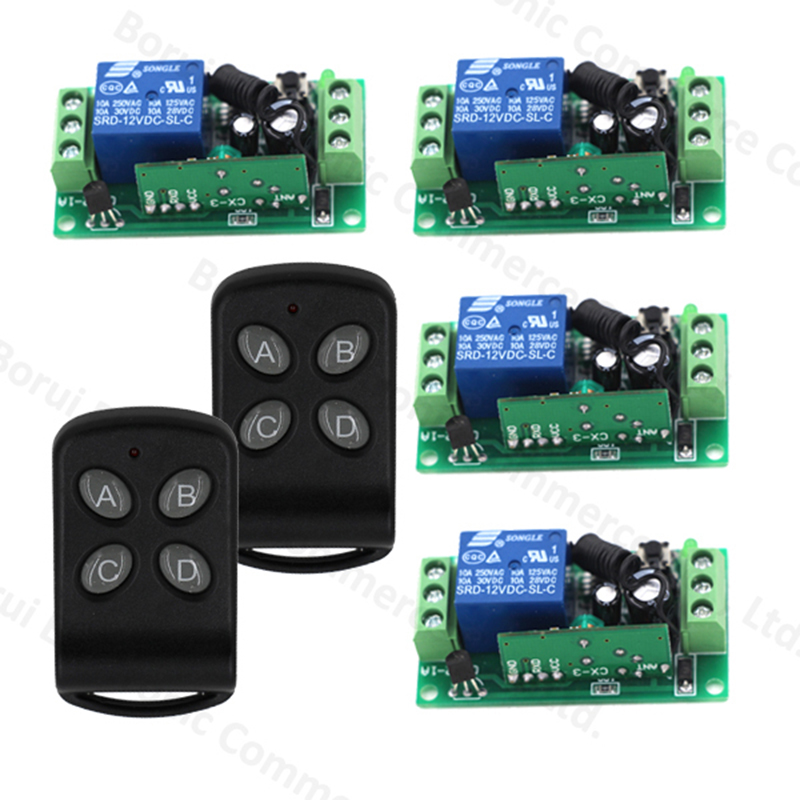 Remote Control Switch DC 12V 1 CH 10A Relay Receiver Transmitter RF Wireless Switch Learning Light Lamp 315/433Mhz dc 12v rf wireless switch remote control switch 10a 1ch receiver mini relay wall transmitter for light motor gate 315 433mhz