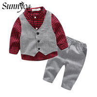 2017 New Trendy Baby Boy Clothes 3pcs Sets Vest Plaid Shirt Pants Gentleman Kids Party Wedding