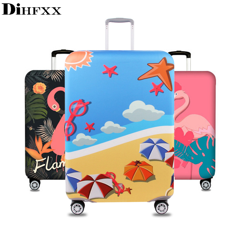 DIHFXX Flamingos Elastic Thick Luggage Cover for Trunk Case Apply to 18-32Suitcase Protective Cover Travel Accessor