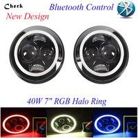 40 Вт 7 дюймовый LED Halo Фары для автомобиля Комплект 7 светодиодные фары с углом глаза H4 Hi/низкая Bluetooth управление для Jeep JK 07 16 Wrangler AM