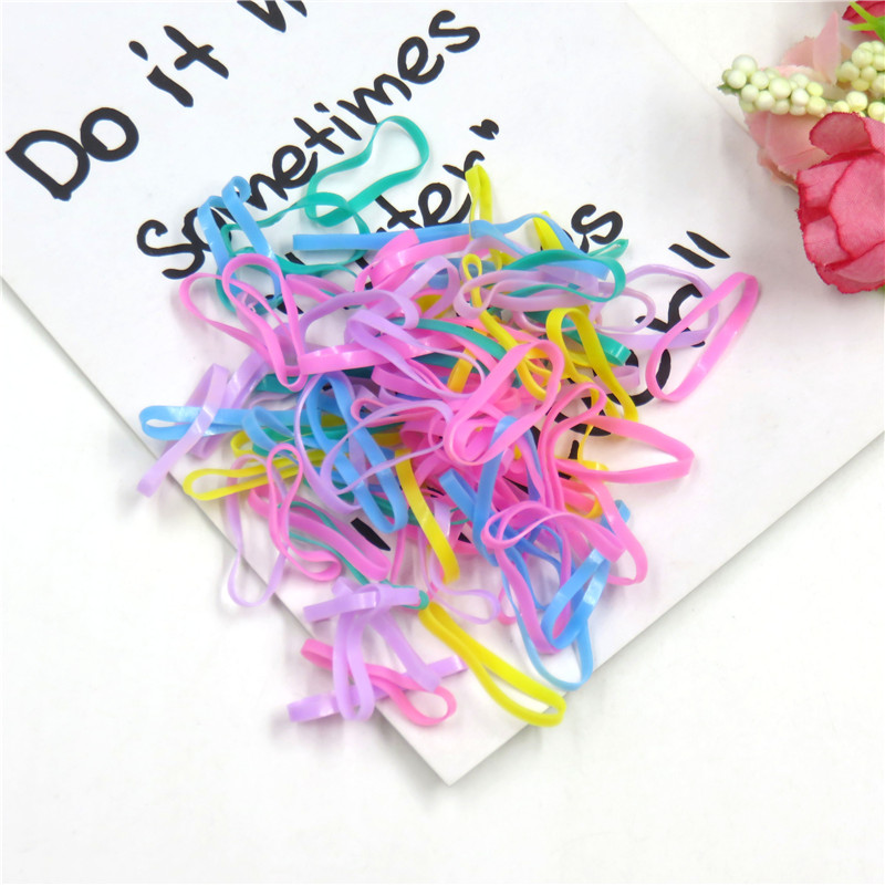 About 100PCS/LOT Fashion Colorful Mix Elastic Hair Bands For Girl Handmade Hair Scrunchy Kids Creative Hair Accessories For Girl