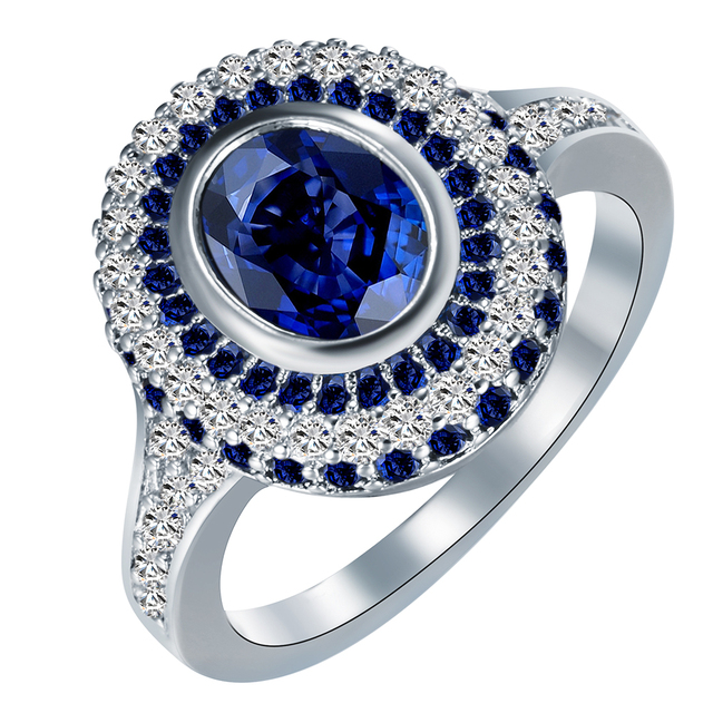silver plated engagement rings New vintage Royal blue white zircon
