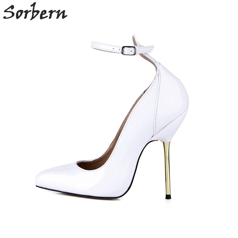 Sorbern blanc talons Pointe Toe Vintage dames chaussures de bal Sexy talons cheville sangles personnalisé mode chaussures 2018 luxe femmes - 2