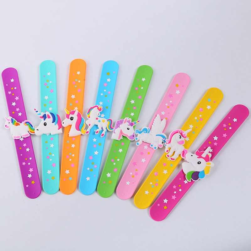 Kid Children Girl Boy Star Printing Colorful Unicorn Wristband Flexible Wrap Slap Bracelet Animal Enfant Bangle Drop Shipping