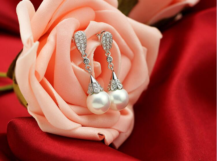 High quality fashion water drop imitation pearl crystal 925 sterling silver ladies stud earrings jewelry Valentine 39 s gift women in Stud Earrings from Jewelry amp Accessories