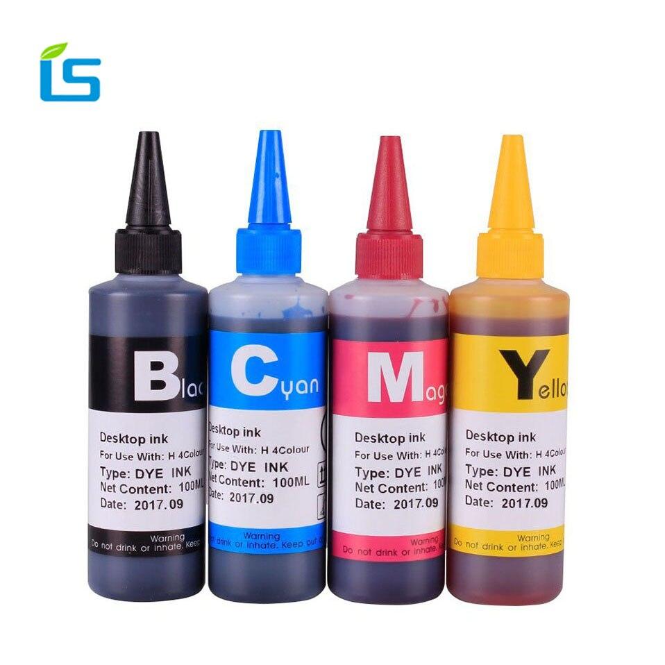 4 piezas 100 mL tinta de tinte Universal kit de tinta de recambio para Epson para Canon para HP para Brother para Lexmark para DELL impresora de inyección de tinta para CISS