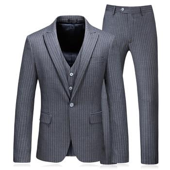 (Jacket+Vest+Pants) 2018 new style evening suit Men fashion Classic suits Men's Gray stripe business wedding Suit men Full dress