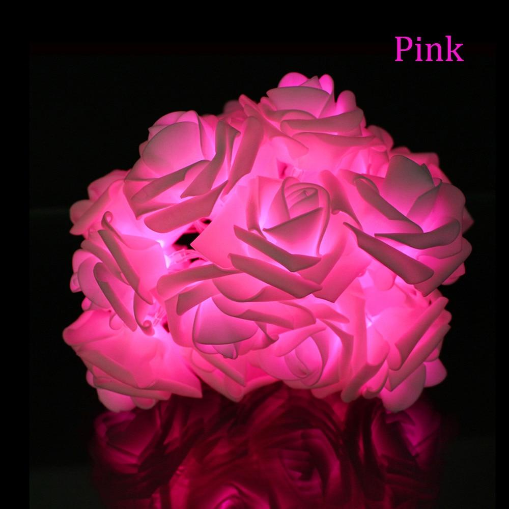 2M 20LED Batteridrevet Holiday Light LED Rose Flower Fairy String - Ferie belysning - Bilde 3