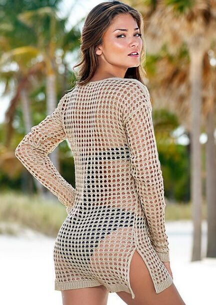 Knitted hollow blouse See through Sheer Sexy women Swimwear dress Crochet cover-ups beach Cover Up Bikini Cover Ups Swimsuit 5