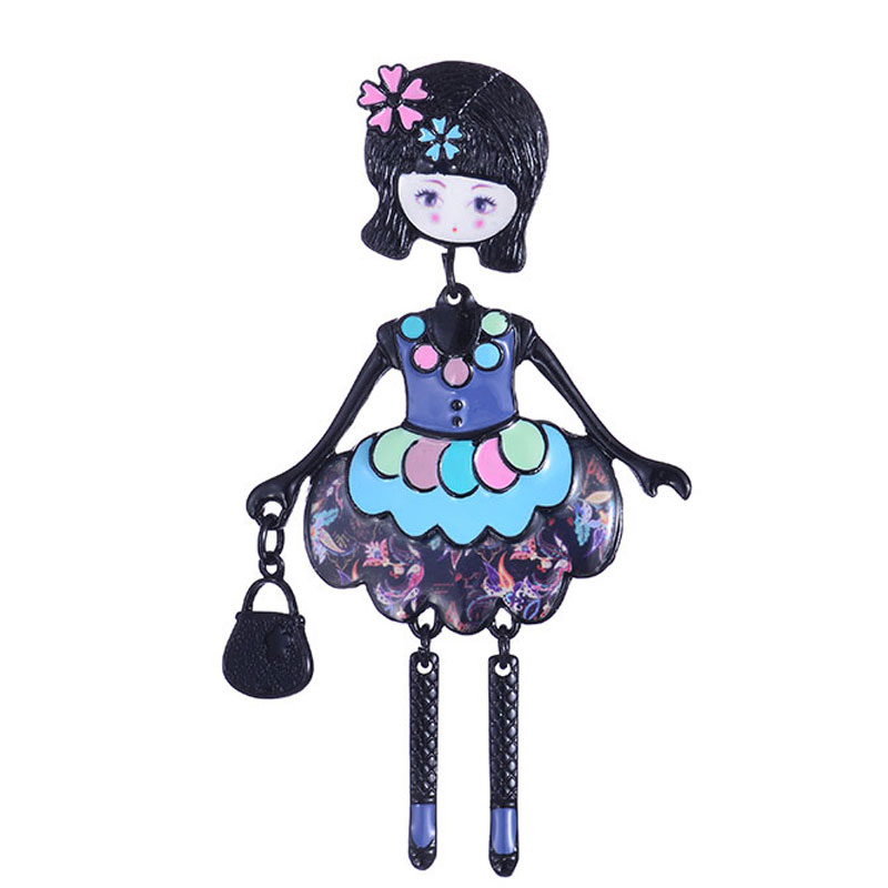 Pretty Girls Brooches Zinc Alloy Enamel Brooch Charming Cute Fashion 2019 Girl with Bag Pendant Brooch Pins Girls Accessories in Brooches from Jewelry Accessories