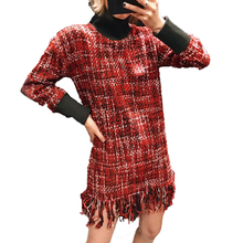 2019 New Spring Red Plaid Tweed Women Mini Dresses Female Fashion Tassel Turtlen