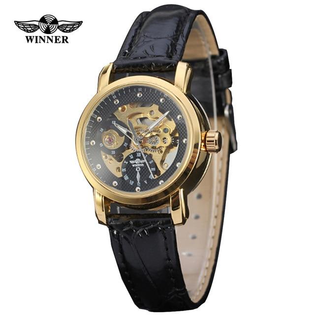 5b6bc15af63 Vencedor do Top marca mulheres relógios moda esqueleto dial pulseira de  couro relógio mecânico automático mulheres