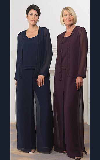 Chiffon Mother Of The Bride Pant Suits Plus Size For Wedding Party