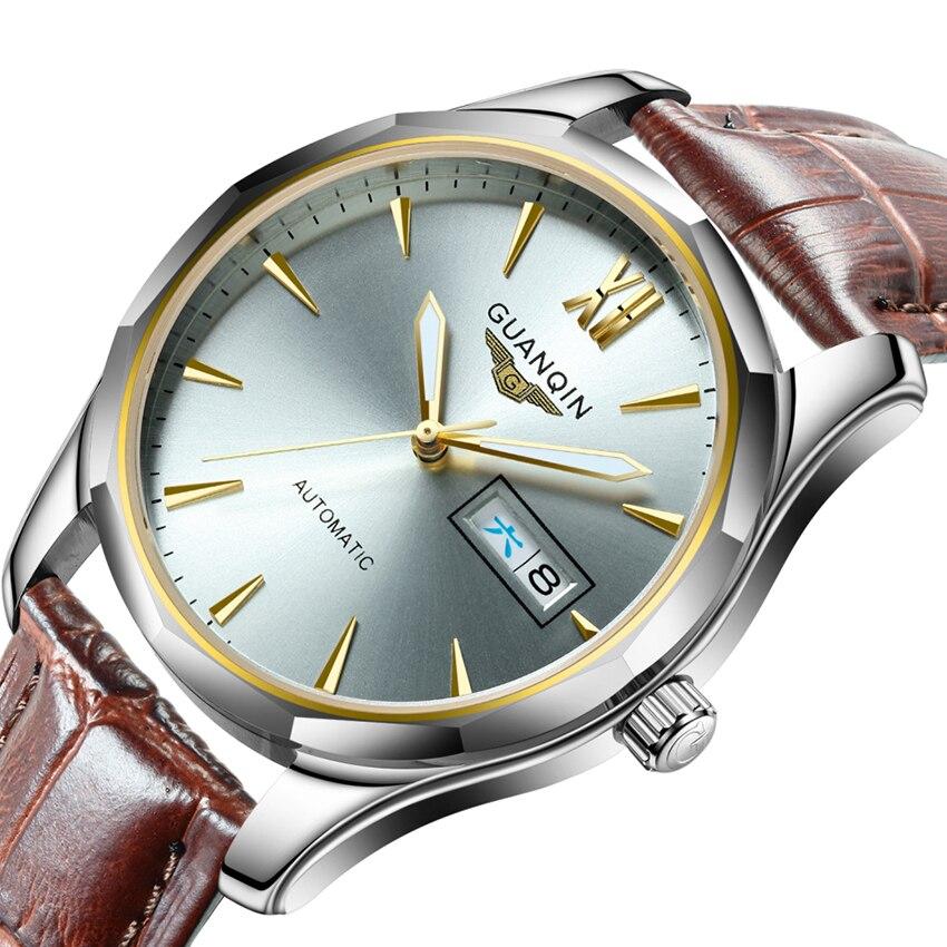 Автоматические механические мужские часы GUANQIN, светящиеся часы из вольфрамовой стали, часы с датой, календарем, отображением недели, японск...