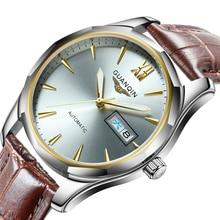 GUANQIN אוטומטי מכאני גברים שעון זוהר טונגסטן פלדה שעונים תאריך לוח שנה תצוגת שבוע יפני תנועת גברים של שעון