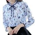 Camisa primavera mulheres 2017 mulher blusa de chiffon de manga longa new arrivals moda casual clothing impressão floral tops das mulheres