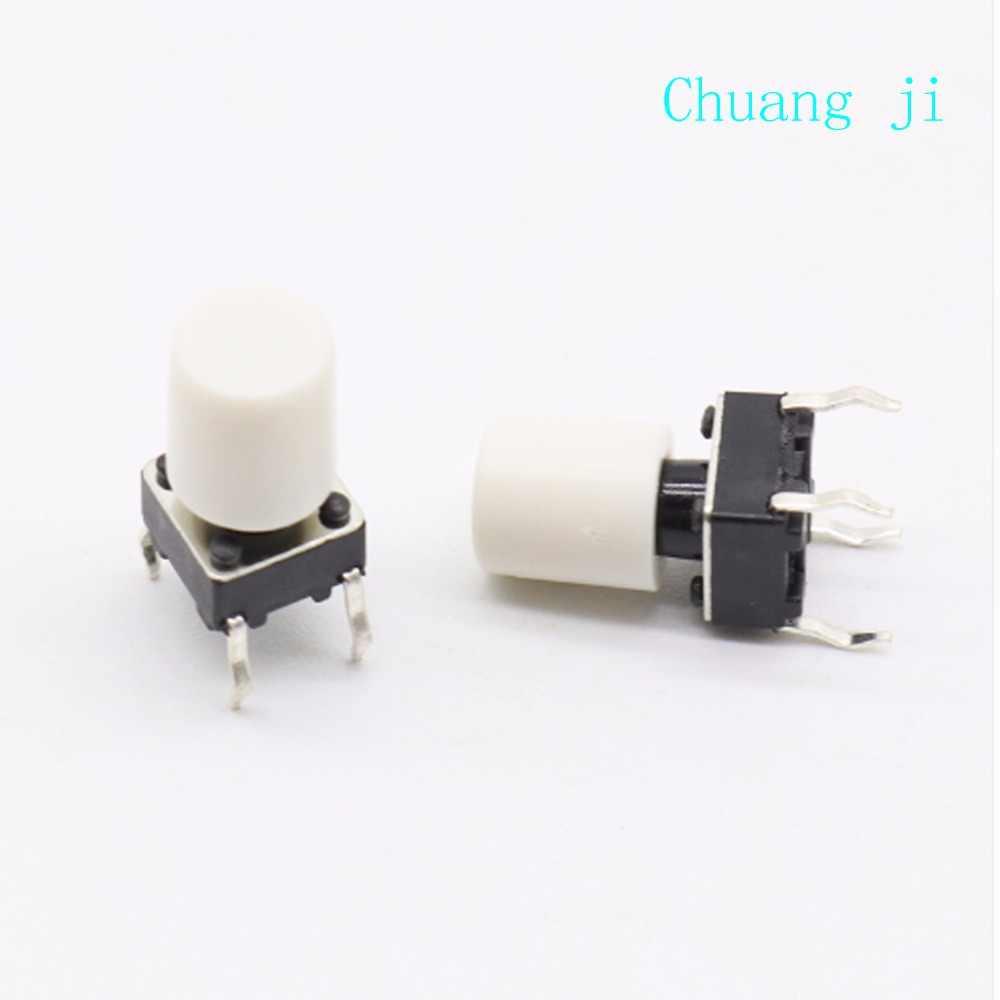100 pcs/lot Blanc En Plastique Cap Chapeau G63 pour 6*6mm Poussoir Tactile Bouton Interrupteur Couvercle Couverture Livraison Gratuite