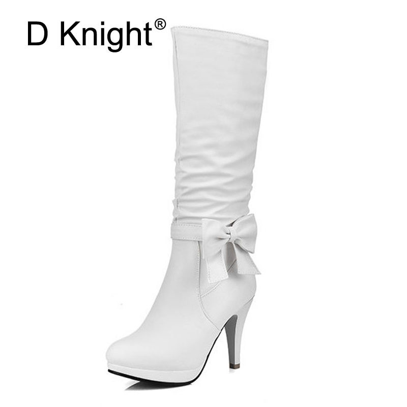 Women Knee High Boots Fashion Bow High Heels Winter Boots For Women Ladies Casual Tall Boots Size 34-43 Women Ridding Boots