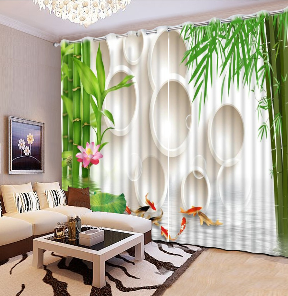 modern living room curtains 3d bamboo fish custom curtains modern blackout curtains for bedroom home