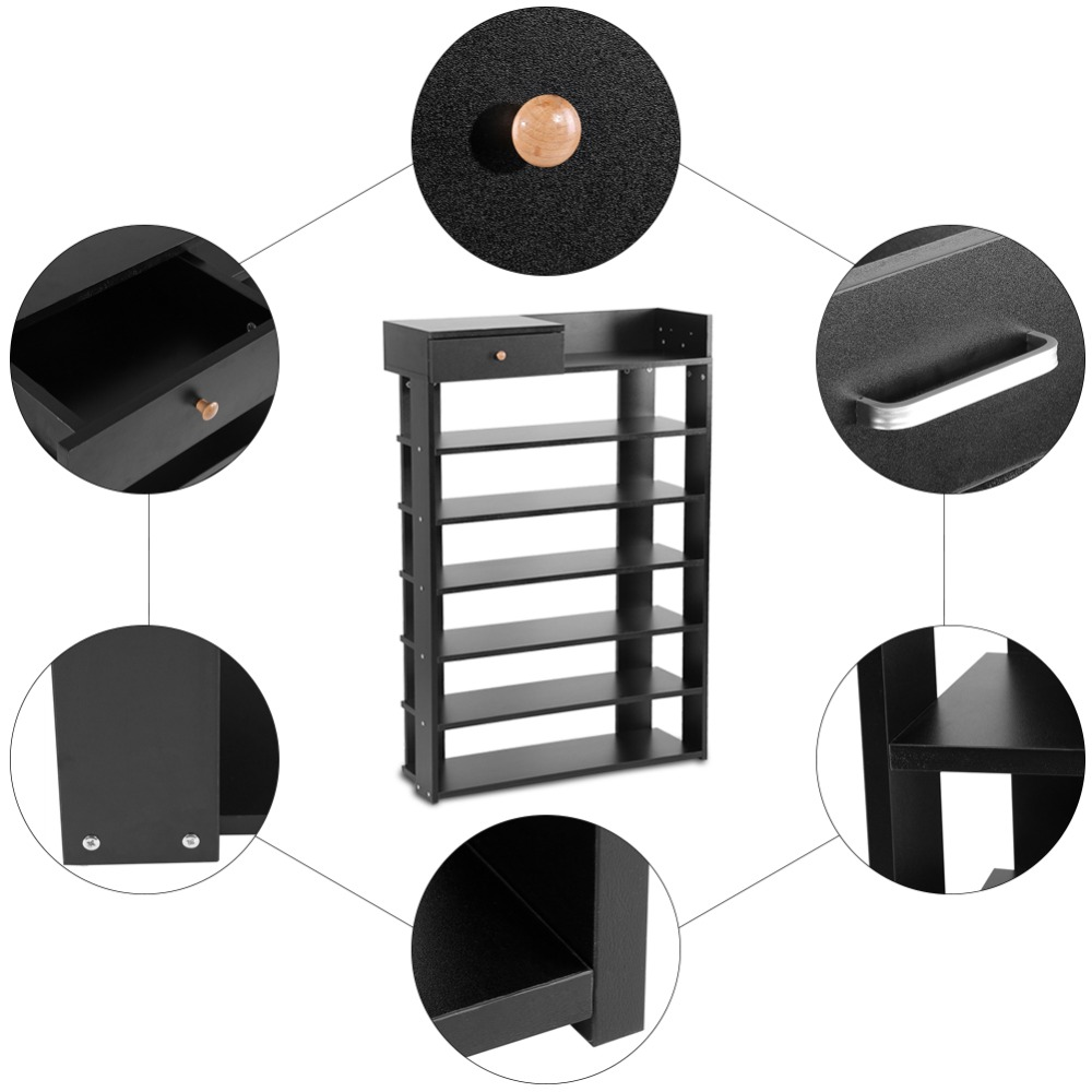 6 Tiers Black Standing Shoe Rack With Drawer Shoes Shelf Storage Organizer Home Use Furniture Living Room Furniture