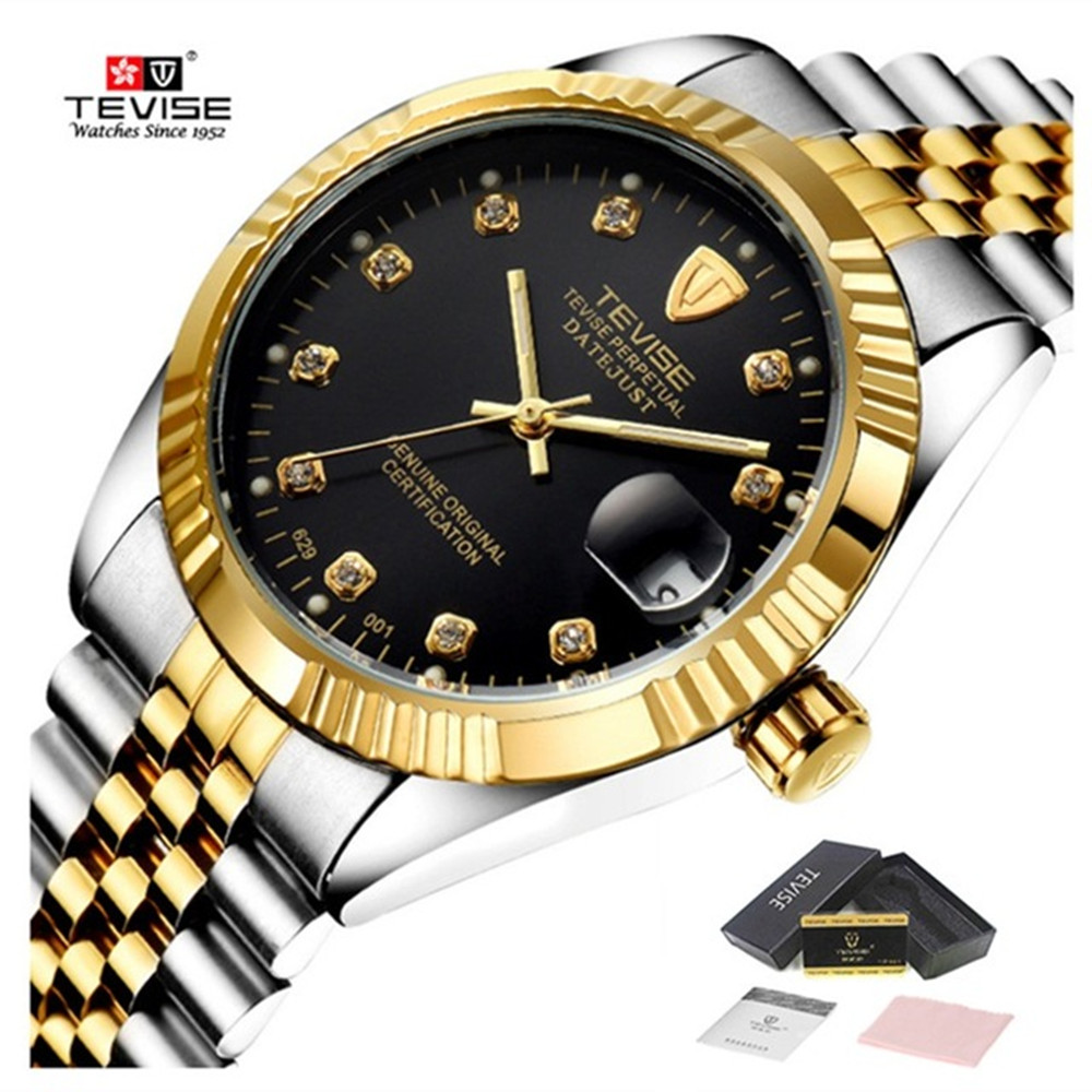 TEVISE Automatic Mechanical Luxury Watch Men Waterproof Watches Bracelet Water Resistant Stainless Steel Gold Mens Wristwatches tevise top brand business mechanical watches stainless steel band wristwatches men sports gold watch waterproof black white gift