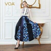 VOA тяжелый шелк Бохо длинная юбка Для женщин линии юбки плюс Размеры 5XL принт синий Повседневное летом основной хит Цвет модные пляжные C357