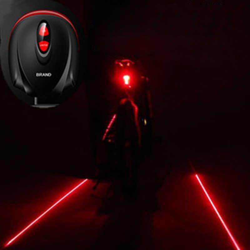 2018 bicicleta caliente 5 LED 2 luces láser para bicicleta de ciclismo 7 modo de Flash MTB seguridad trasera lámpara impermeable láser cola lámpara de advertencia parpadeante