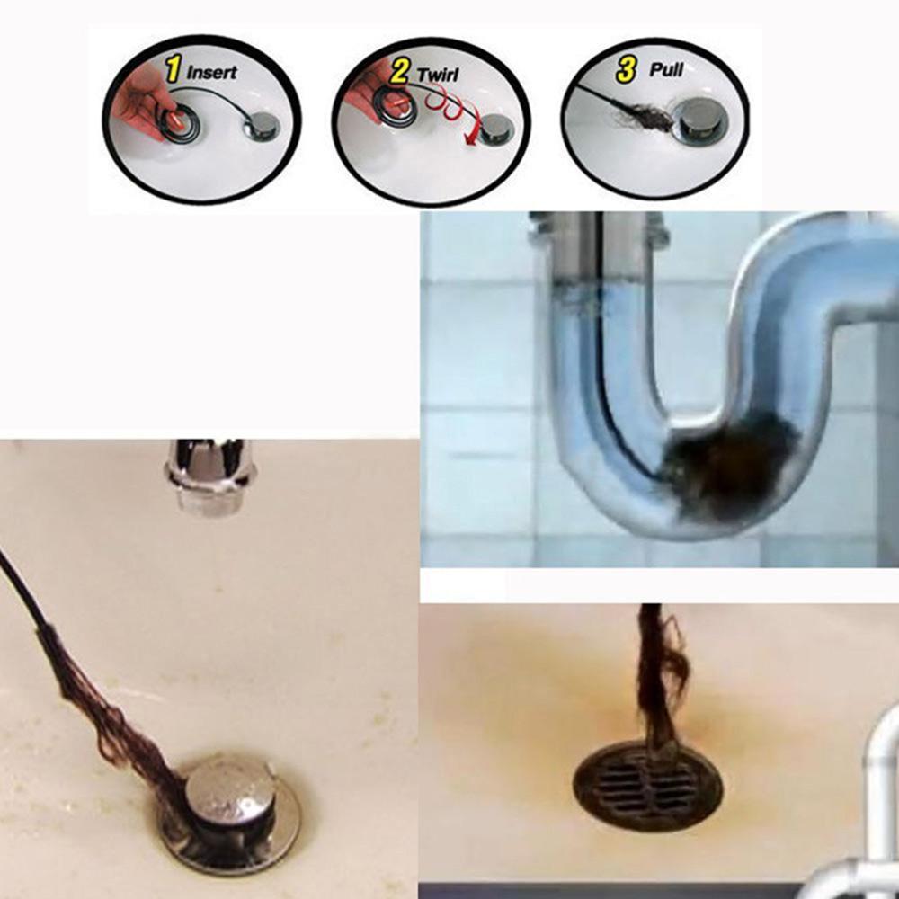 Abflussreiniger AnpassungsfäHig 2 Teile/satz Waschbecken Abflussreiniger Bad Unclog Sink Tub Wc Schlange Pinsel Haarentfernung Haken Kostenloser Versand