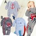 Carro tarja Macacão de manga Longa Infantil macacão de algodão Recém-nascidos do bebê impressão roupas de Bebê das meninas dos meninos roupas de Outono das crianças