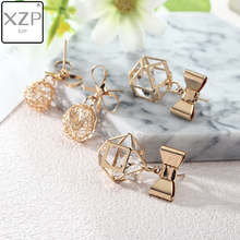 XZP 2018 Korean Bowknot Hollow Ball Polyhed Crystal Stud Earrings Cute Bow Tie Drop Earring for Women Girls Fashion Jewelry