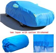 Para SUBARU FORESTER IMPREZA LEGADO XV firma dos capas cubiertas de Autos con algodón espesar Impermeable ULTRAVIOLETA Anti Polvo de la Nieve cubiertas del coche