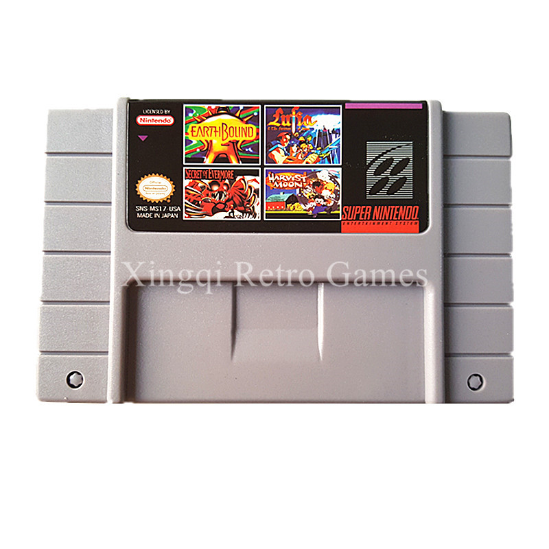Super Nintendo SFC SNES MS17 4 in 1 Video Game Cartridge Console Card US Version English