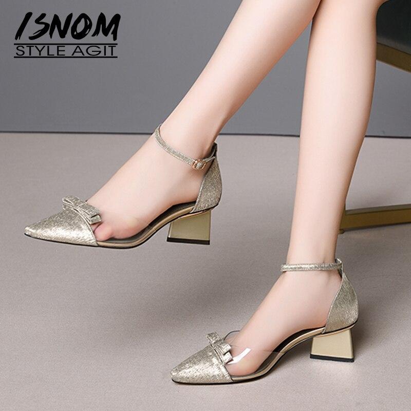 Isnom 양모 여름 샌들 여성 하이힐 샌들 여성 2019 이상한 스타일 신발 여성 투명 pvc 발목 스트랩 신발-에서하이힐부터 신발 의  그룹 1